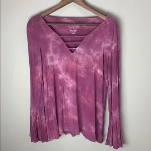 American Eagle Outfitters Tops - 🌻 3/$30 American Eagle Pink Tie-Dye Flutter Top